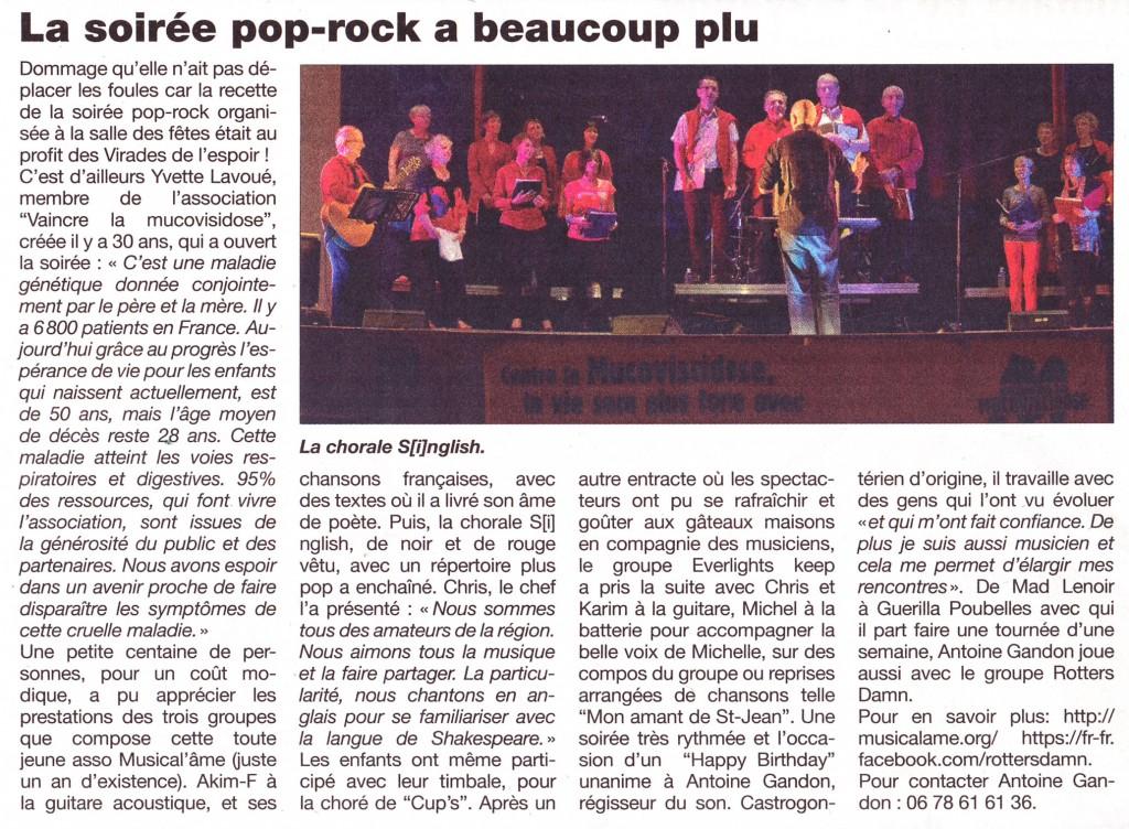 Article du Haut Anjou au sujet de la Soirée Pop-Rock