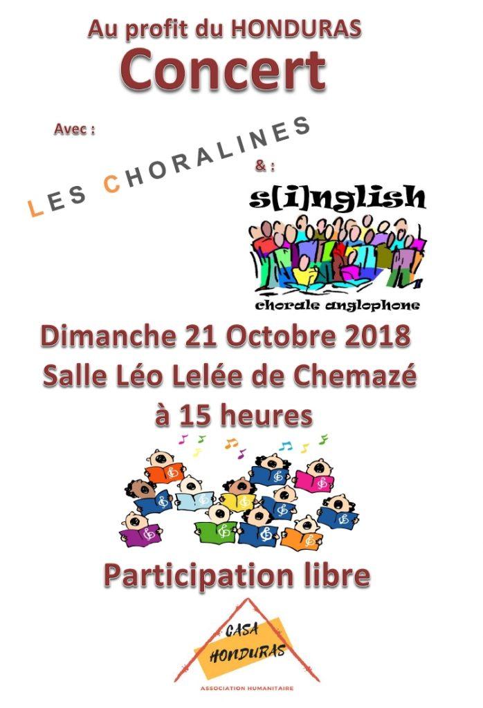 Concert au bénéfice de Honduras avec les Choralines et s[i]nglish, le dimanche 21 octobre à 15h à la Salle Léo Lélée de Chemazé